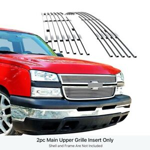 Fits 2006 2007 Chevy Silverado 1500 05 06 3500 Upper Stainless Billet Grille