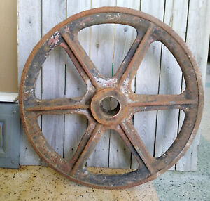 Large Antique Primitive Steampunk 24 Industrial Farm Cast Iron Pulley Wheel