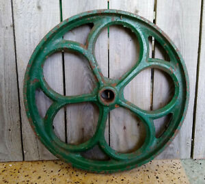 Antique Primitive Steampunk 12 1 2 Green Industrial Farm Cast Iron Pulley Wheel
