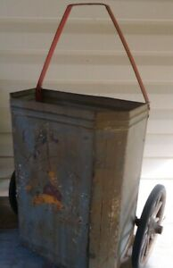 Old Primitive Antique Shopping Market Cart Metal Wood Wheels Grocery Carrier