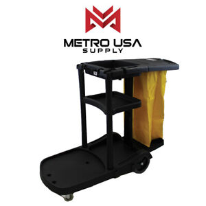 Black Commercial Janitorial Cleaning Cart Rolling Uitility Cart 3 Shelves