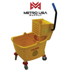 38qt Metro Commercial Mop Bucket With Side Press Wringer Yellow