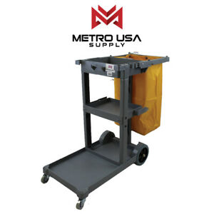 Commercial Janitorial Cleaning Cart Rolling Janitor Uitility Cart 3 Shelves