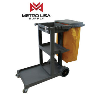 Gray Commercial Janitorial Cleaning Cart Janitor Uitility Cart 3 Shelves