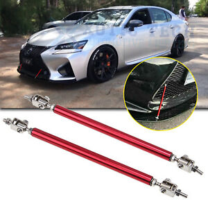 Jdm Red Adjust Front Bumper Lip Splitter Strut Rod Tie Support Bars For Lexus