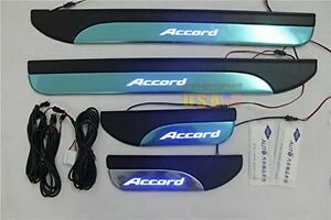 4 Door Stainless Sill Plate Guard For Honda Accord 2013 2017 Blue Led Light
