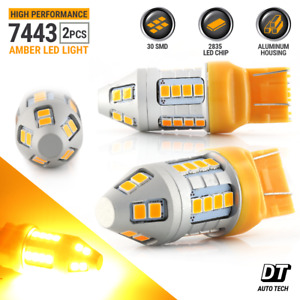 7443 7440 Led Amber Yellow Front Real Turn Signal Parking Drl Light Bulbs
