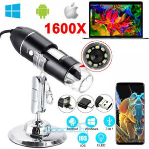 1000x 1600x 8led Digital Microscope Usb Endoscope Camera Android Mac Window
