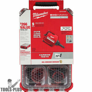Milwaukee 49 56 9295 9 Pc Big Hawg With Carbide Teeth Hole Saw Kit Packout New