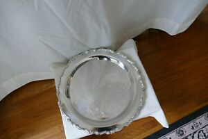 Vintage Oneida Usa Etched 15 Silver Plated Round Serving Platter Tray Charger