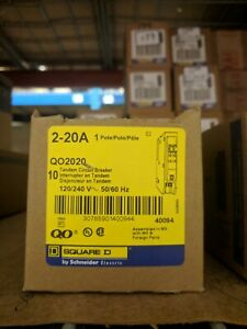 Square D Qo2020 10 Pack 20 20a Tandem Circuit Breakers New In Box W Warranty