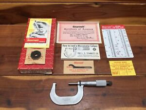 Vintage Starrett Outside Micrometer No T2rl W Original Box And Papers 1 2