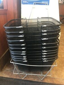 Commercial Shopping Baskets With Stand Set Of 20 black Metal