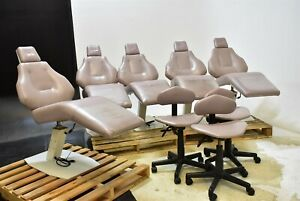 Lot Of 5 Contour Equipment Craftmaster Dental Chairs W 3 Doctor Stools