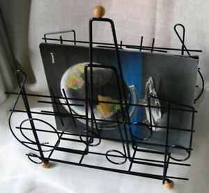 1970 S Eames Style Moderne Retro Music Note Magazine Rack In Steel Wire