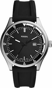 Fossil Men's Belmar FS5535 44mm Black Dial Silicone Watch $29.99
