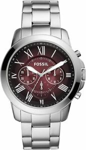 Fossil Men's Garrett FS5628 44mm Red Dial Stainless Steel Watch $44.99