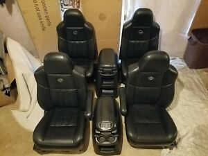 Ford Harley Davidson F250 F350 F450 Seats Black Leather Console 2004 Bucket Set