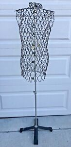 Vintage my Double Wire Mesh Dress Form Adjustable Metal Stand Art Deco Sewing