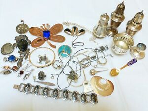 Vintage Sterling Silver Jewelry Scrap Lot Total Of 501 Grams