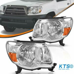 Headlights Assembly For 2005 2011 Toyota Tacoma Chrome Headlamp Lamps Left right