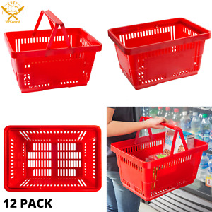 12 Pack Plastic Shopping Baskets Durable Grocery Convenience Store Basket New