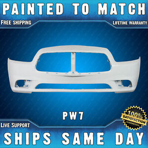 New painted Pw7 Bright White Front Bumper Cover For 2011 2014 Dodge Charger
