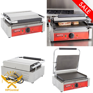 Sandwich Grill Press Griddle Commercial Restaurant Panini With Smooth Plates New