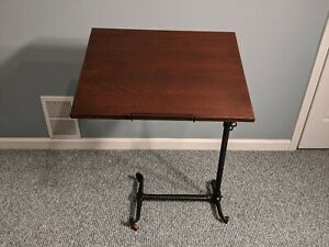 Antique Medical Hospital Table Adjustable Bedside Table Victorian Cast Iron