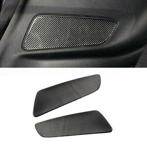 Real Carbon Fiber Rear Seat Door Panel Cover Trim For Ford Mustang 2015 2019