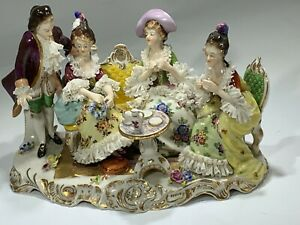 19th Century Dresden Volkstedt Porcelain Figurine Group Afternoon Tea Time