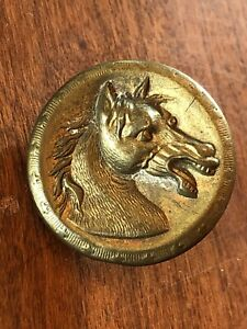 Antique Vtg Metal Picture Button Horse Bkmk Sporting Extra Quality Star Rim