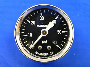 Marshall Gauge 0 60 Psi Fuel Pressure Oil Pressure Gauge Black 1 5 Diameter