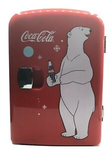 Retro Coca Cola Mini Fridge Holds 6 Cans Of Beverage Has Cold/Hot Functions Red
