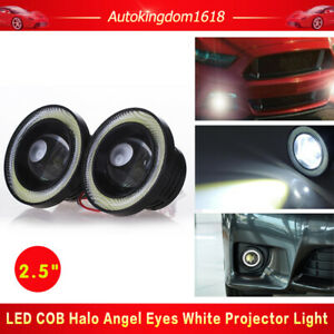 2x Car 2 5 Projector Led Fog Light White Cob Halo Angel Eye Rings Driving Lamp