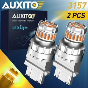 2pc Auxito 3157 3457 4057 3057 Led Amber Turn Signal Light Bulb Super Bright 12v