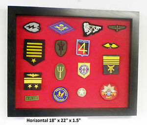 Display Case Cabinet Shadow Box For Military Police Boy Scout Navy Patches Small