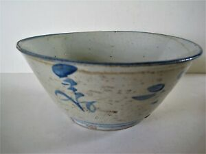 Chinese Hand Painted Blue On White Porcelain Bowl Ming Dynasty 1628 1643 9 X 4
