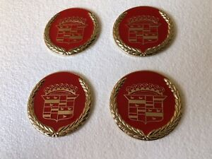 Lowrider hydraulics wire Wheel Knock Off Red And Gold Cadillac Chip 4pcs