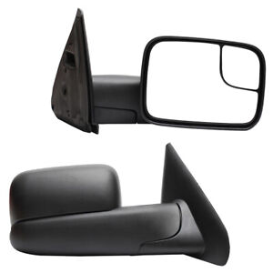 Pair Manual Operate Towing Mirrors For 2002 2008 Dodge Ram 1500 2500 3500