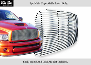Fits 2002 2005 Dodge Ram 1500 2500 3500 Upper Stainless Silver Billet Grille