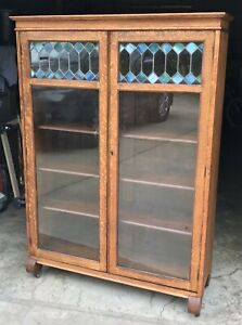 Antique Larkin Arts Crafts Quartersawn Oak Blue Green Stained Glass Bookcase