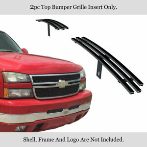 Fits 2003 2006 Chevy Silverado 1500 Top Bumper Stainless Black Billet Grille