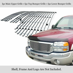 Fits 2003 2006 Gmc Sierra 1500 2500 07 Classic Stainless Billet Grille Combo