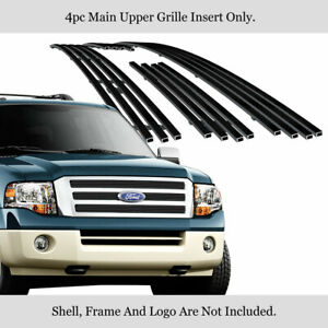 Fits 2007 2014 Ford Expedition Main Upper Stainless Steel Black Billet Grille