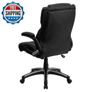 Office Chair Executive Swivel High Back W Headrest Black Leather Computer Desk