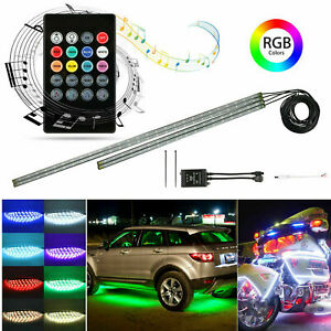 4pcs 8 Color Led Strip Under Car Tube Underglow Underbody System Neon Lights Kit