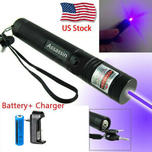 900miles Blue Purple Laser Pointer Pen Focus zoom Beam Lazer charger battery