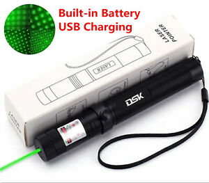 990miles Strong Beam Green Laser Pointer Pen 532nm Lazer Torch Usb Rechargeable