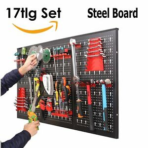 17pcs Peg Boards Shelf Wall Mounted Panel Set Tool Storage Organizer 47 2x23 6in